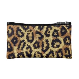 Brown Cream Cheetah Abstract Makeup Bag