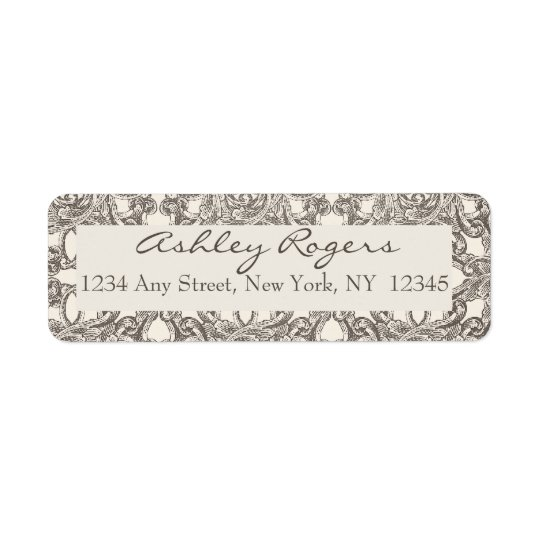 Brown Cream Damask Wedding Return Address Labels