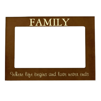 Brown/Cream Family Quote Magnetic Frame