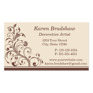 Brown & Cream Floral Curls Business Cards