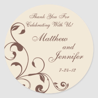 Brown & Cream Floral Curls Wedding Favor Labels Round Sticker