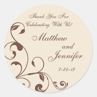 Brown & Cream Floral Curls Wedding Favour Labels Round Stickers