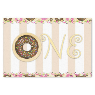 Brown Cream Sprinkle Donuts ONE 1ST Birthday Party Tissue Paper