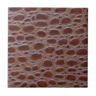 Brown Crocodile Look Small Square Tile