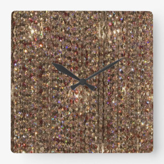Brown Crystal Background Square Wall Clock