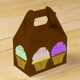 Brown Cupcake Art Box With Handle