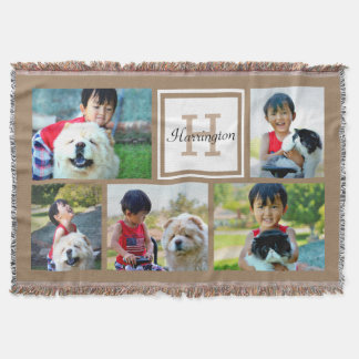 Brown Custom Monogrammed 5 Photo Picture Collage