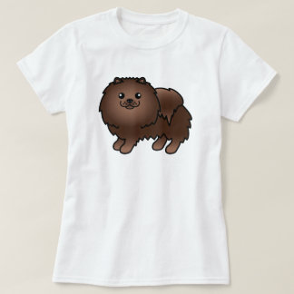 Brown Cute Cartoon Pomeranian Dog T-Shirt
