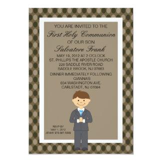 Brown Cute First  Communion Boy Invitation