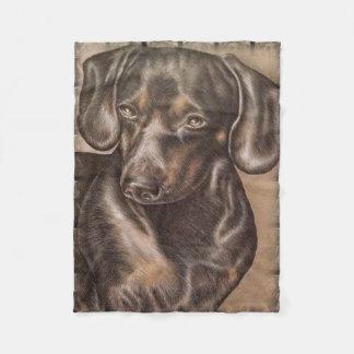 Brown Dachshund dog drawing of pet portrait Fleece Blanket