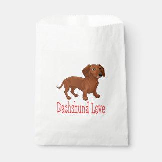Brown Dachshund Puppy Dog Cartoon Red Love Favour Bag
