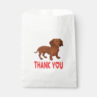 Brown Dachshund Puppy Dog Cartoon Red Thank You Favour Bag