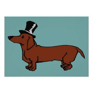 Brown Dachshund Top Hat Custom Announcements