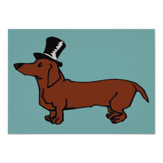 "Brown Dachshund Top Hat 5"" X 7"" Invitation Card"