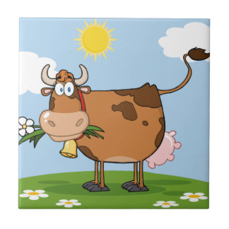 Brown Dairy Cow Small Square Tile
