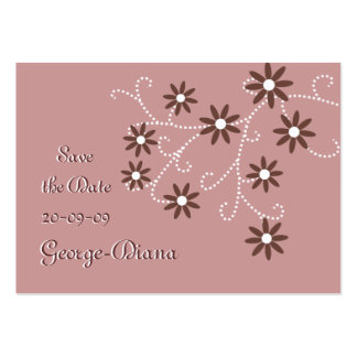 Brown Daisies Affordable Save the Date Cards Pack Of Chubby Business Cards