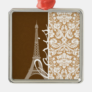 Brown Damask; Paris Christmas Tree Ornament