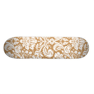 Brown Damask Pattern Custom Skate Board
