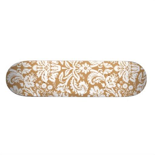 Brown Damask Pattern Custom Skate Board