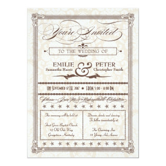 "Brown Damask Poster-Style Wedding Invitation 6.5"" X 8.75"" Invitation Card"