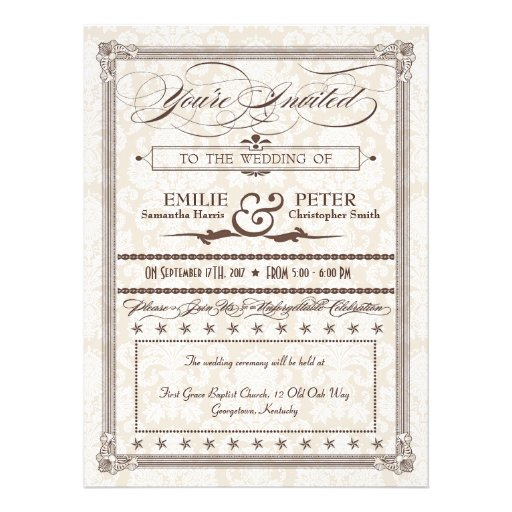 Brown Damask Poster-Style Wedding & Reception Personalized Announcement