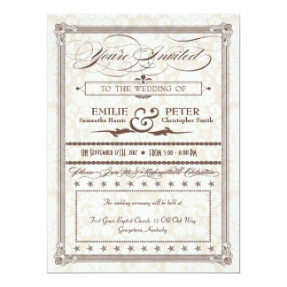Brown Damask Poster-Style Wedding & Reception 6.5x8.75 Paper Invitation Card