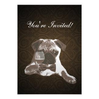 Brown Damask Pug Fine WIne Birthday Invitation