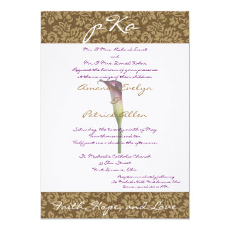 Brown Damask Wedding Inv. 13 Cm X 18 Cm Invitation Card