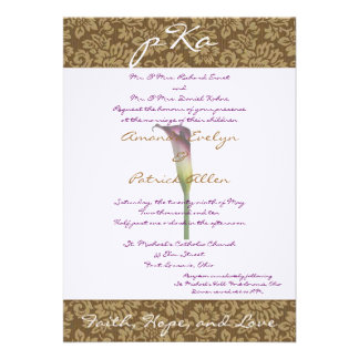 Brown Damask Wedding Inv Custom Announcements