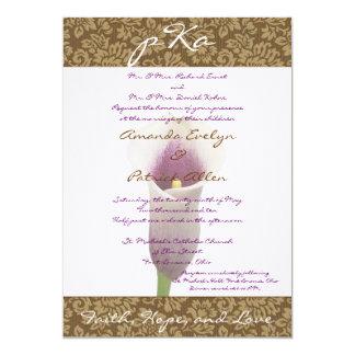 Brown Damask Wedding Inv. 5x7 Paper Invitation Card