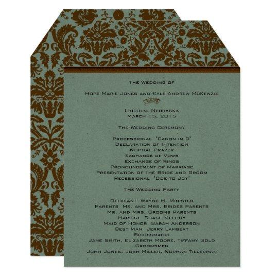 Brown Damask Wedding Program