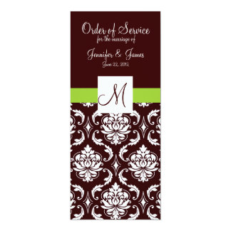 Brown Damask Wedding Programs with Monogram