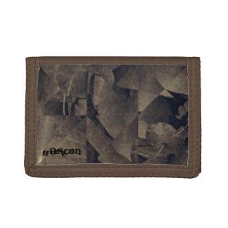 Brown Designer Trifold Nylon Wallet