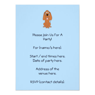 Brown Dog Cartoon. Hound. 17 Cm X 22 Cm Invitation Card