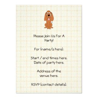 Brown Dog Cartoon. Hound. 17 Cm X 22 Cm Invitation Card
