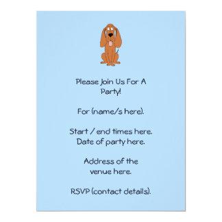 Brown Dog Cartoon. Hound. Custom Invitations