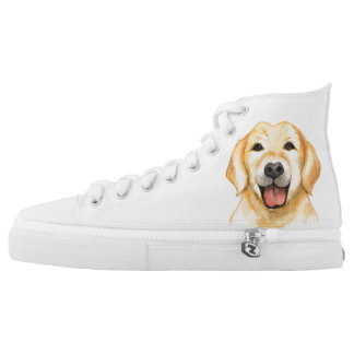 Brown Dog on White High Top Shoes