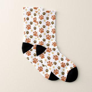 Brown Dog Pawprints Pattern Socks