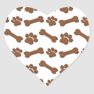BROWN Dog Paws and Bones Custom Name and Sentimen Heart Sticker