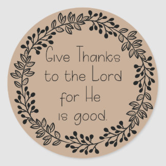 Brown Doodle Leaf Wreath Give Thanks to the Lord Classic Round Sticker