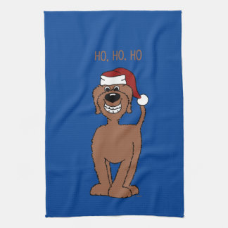 Brown Doodle Santa Kitchen Towels