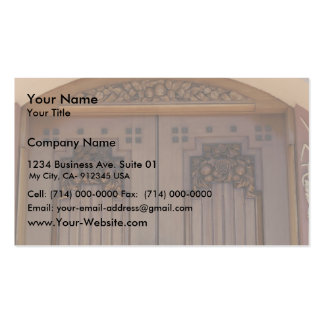 Brown Door With The Square Of Flowered Borders Business Card