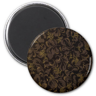 Brown Embroidery 6 Cm Round Magnet