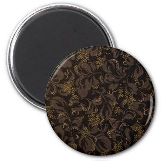 Brown Embroidery Look 6 Cm Round Magnet