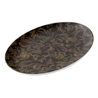 Brown Embroidery Look Porcelain Serving Platter