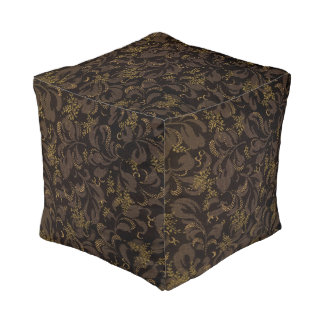 Brown Embroidery Look Pouf