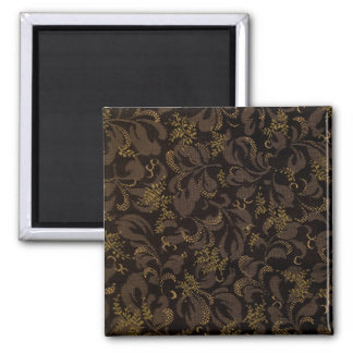Brown Embroidery Look Square Magnet