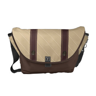 Brown Ethnic Pattern and Stripe Messenger Bag