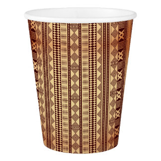 Brown ethnic texture paper cup