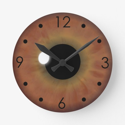 Brown Eye Iris Eyeball Custom Medium Round Clock Wallclock